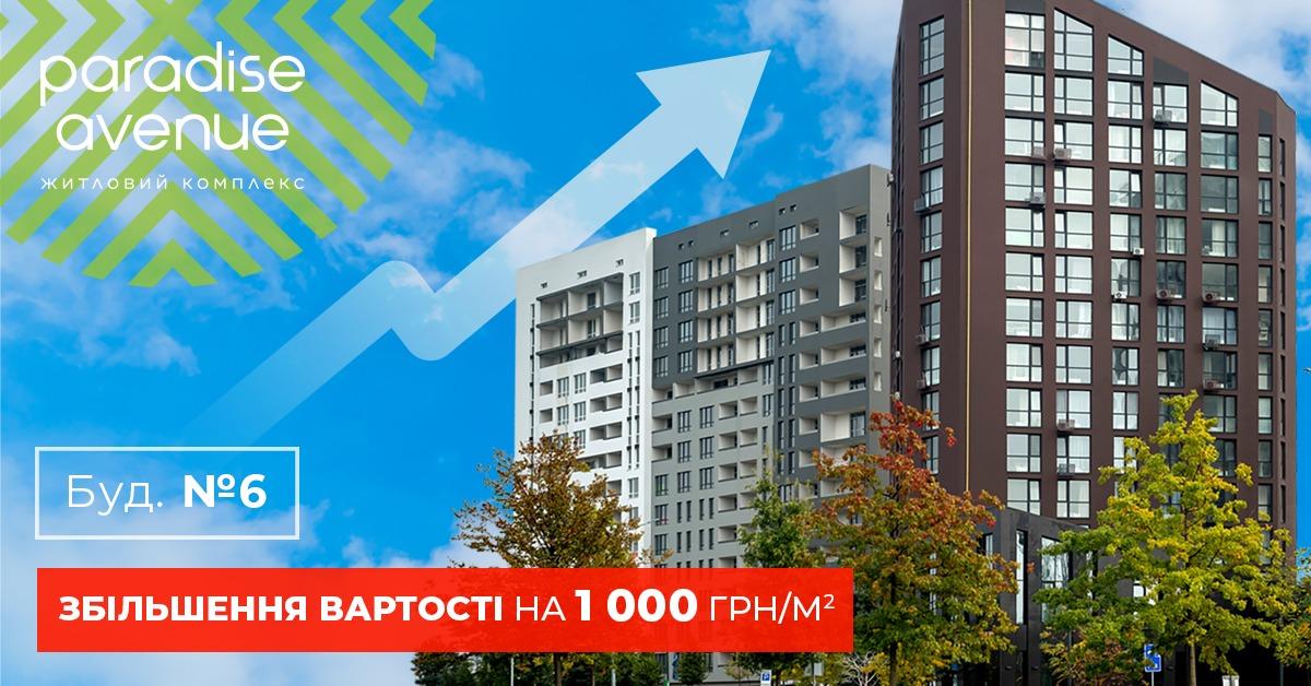 Важлива новина! 20 листопада вартість 1- та 3-кімнатних квартир у будинку №6 зросте на 1000 грн. за м².